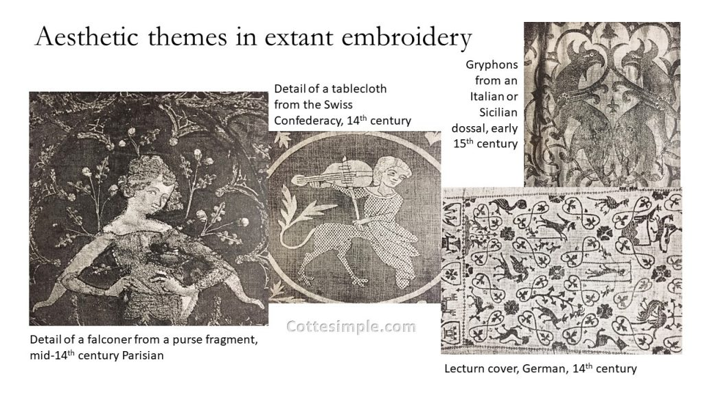Themes in extant secular embroidery. A selection of extant embroidery from the mid- to late 14th century in Europe